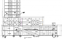 Section building trade with office sand apartments plan detail dwg file