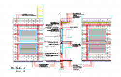 Section by a facade with walls in concrete blocks detail 2d view layout file