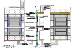 Section by facade with walls in concrete blocks dwg file