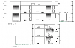 Section complete housing plan detail autocad file