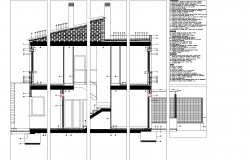 Section construction plan plan detail dwg file.