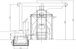 Section cooker gas extraction plan detail dwg file