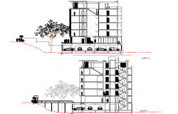 Section department building plan detail dwg file