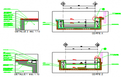 Section design drawing of swimming pool design