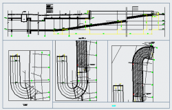 Section detail drawing of Car ramp Full u turn design drawing