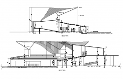 Section detail of stadium building detail 2d view layout dwg file