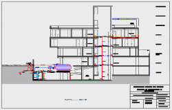 Section drawing of Hydro sanitary facilities of residential building design drawing