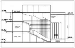 Section drawing of building with detail dimension in AutoCAD