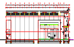 Section drawing of comprehensive court warehouse design drawing