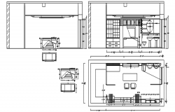 Section drawing of furniture layout plan in dwg file