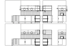 Section drawing of kitchen design in AutoCAD