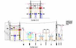 Section electric substation dwg file