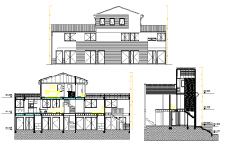 Section family house plan detail autocad file