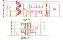 Section full house family housing plan autocad file