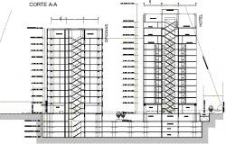 Section high rise building detail dwg file