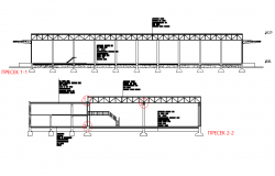 Section industrial hall plan detail dwg file