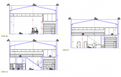 Section industrial pavilion deposit plan detail dwg file