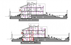 Section living place plan detail dwg file