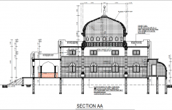 Section mosque detail dwg file
