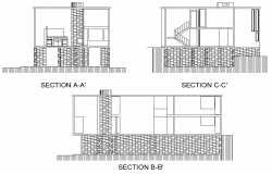 Section normal fisher house plan detail dwg file
