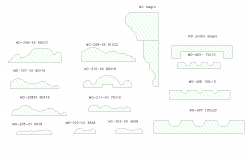 Section of wooden mouldings plan detail dwg file.