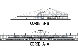 Section plan of airport project dwg file