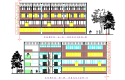 Section school plan detail dwg file