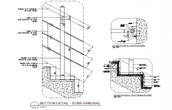 Section stair hand rail detail dwg file