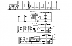 Section textile factory plan detail dwg file