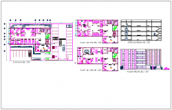 Section view and floor plan of office building dwg file