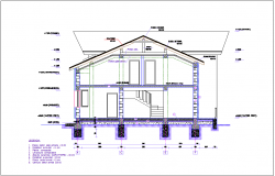 Section view for duplex house building dwg file