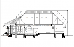 Section view for house of three bedroom building dwg file