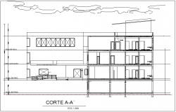 Section view for maternal clinic  building for child dwg file
