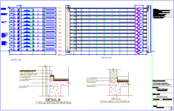 Section view for office building dwg file