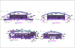 Section view of auditorium with different axis dwg file
