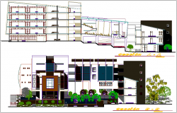 Section view of education building dwg file