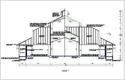 Section view of elevated bungalow view detail dwg file
