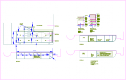 Section view of furniture of bar for office dwg file