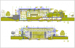 Section view of multi functional pavilion for stadium dwg file