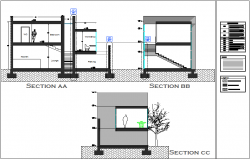 Section view of single apartment with different axis dwg file