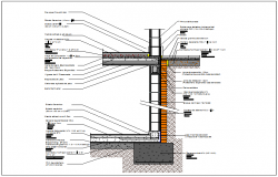 Section view of structural wall detail dwg file