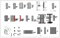 Section view of wall and joint view detail dwg file