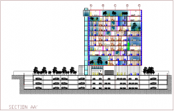 Section view with axis AA' of bank head quarter design dwg file