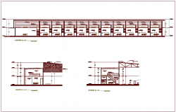 Section view with construction view with stair detail view for zonal market dwg file