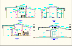 Section view with different axis and elevation of office dwg file