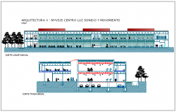 Section view with different axis of government building dwg file