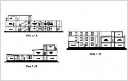 Section view with different axis of municipal building  dwg file