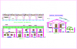 Section view with first floor beam detail view for local communal dwg file