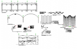 Section wall gate plan autocad file
