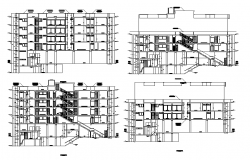 Section with different axis view for accommodation building of apartment dwg file